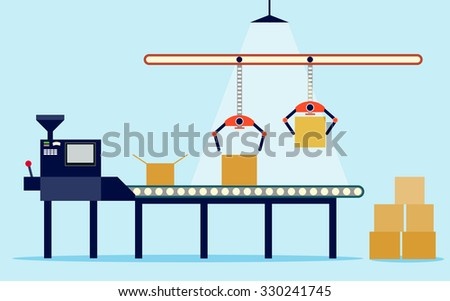 Conveyor system in flat design. Vector illustration - stock vector