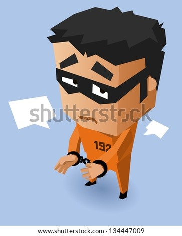 Convict on Orange uniform. Vector Illustration - stock vector
