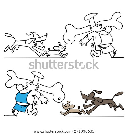 Cook and dogs. Set of kitchen banners - stock vector