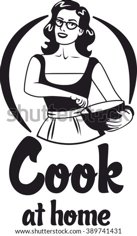 cook at home pin-up girl with glasses and an apron holding a bowl black circle logo