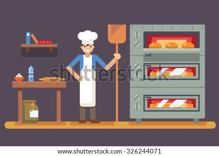 Cook baker cooking bread icon bakery background  flat design vector illustration - stock vector