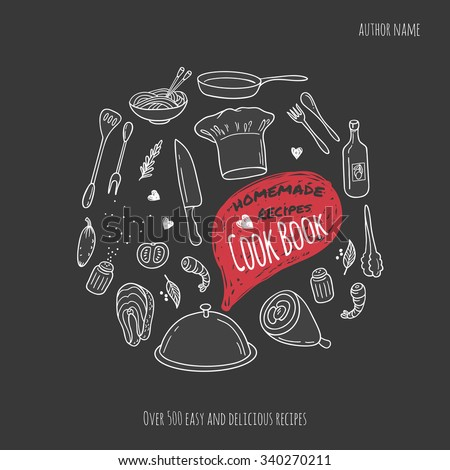Cook book cover with hand drawn food illustrations and doodle speech bubble. Culinary background in vector - stock vector