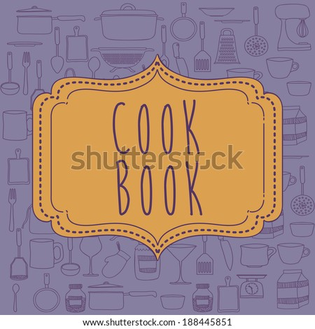 Cook book design over purple background ,vector illustration - stock vector