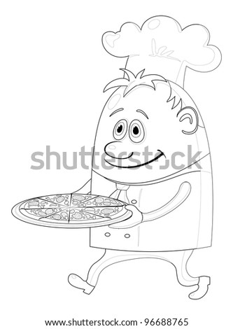 Cook, cartoon chef with pizza isolated over a white background, contour. Vector - stock vector