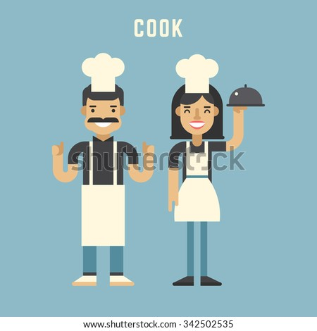 Cook Concept. Cook. Male and Female Cartoon Characters. Flat Design Vector Illustration - stock vector