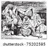 Cook, Duchess, Cheshire Cat, Baby, and Alice. Duchess is sitting on a three-legged stool in the middle, nursing a baby. Alice's Adventures in Wonderland. Illustration from John Tenniel. - stock vector