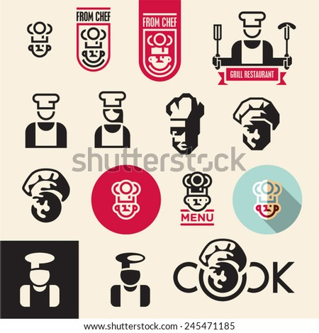 Cook icon. Chef icons set. - stock vector