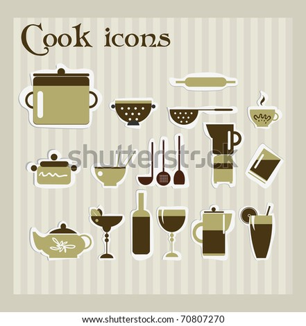 Cook icons - stock vector