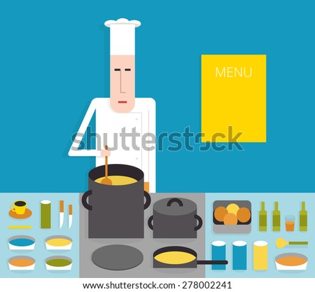 Cook in the kitchen, chef cooks on the stove, cartoon vector illustration on blue background, flat style - stock vector