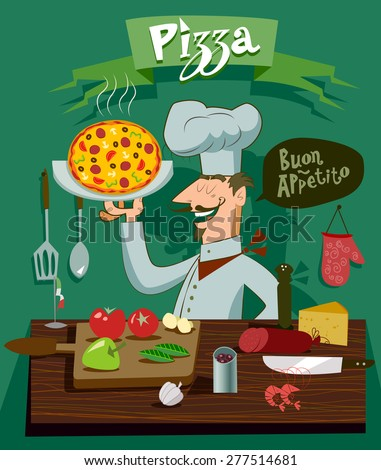 Cook in the kitchen preparing a pizza. A set of ingredients for design - stock vector