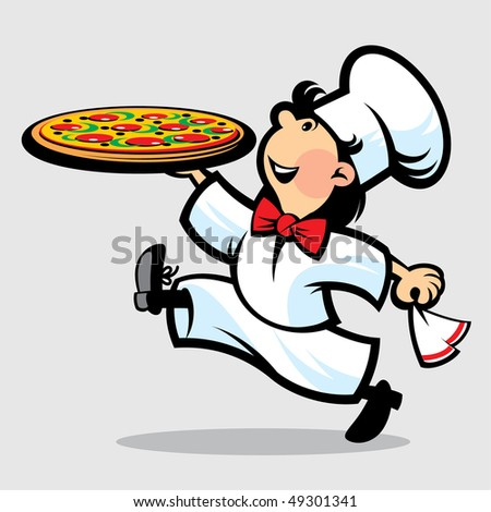 Cook is a pizza restaurant - stock vector