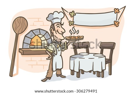 Cook is holding pizza. Pizzeria background. Vector illustration.