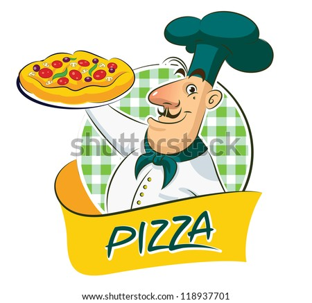 Cook Pizza Vector illustration isolated on a white background - stock vector