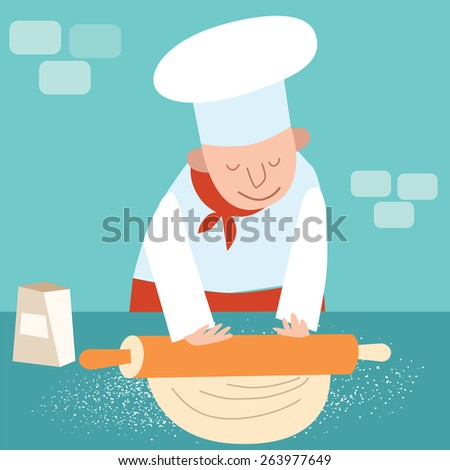 Cook rolls out the dough. Chef of the restaurant is in the kitchen cooking baking - stock vector