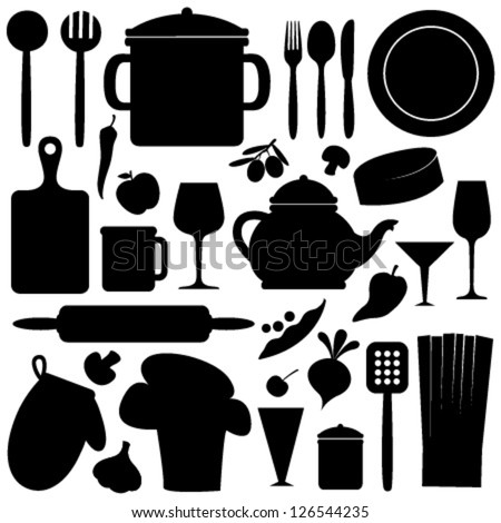 cook set black & white seamless pattern - stock vector