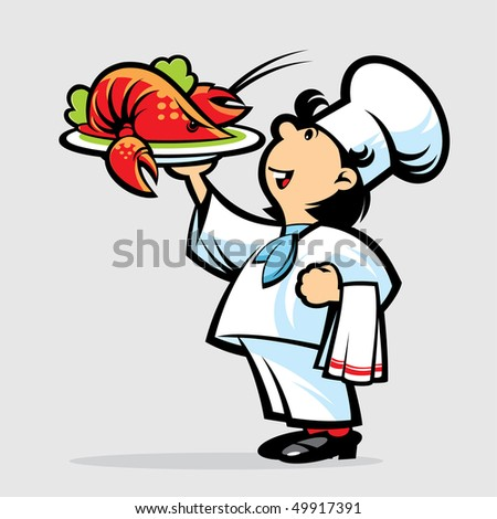 Cook with lobster - stock vector