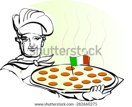Cook with pepperoni pizza - stock vector