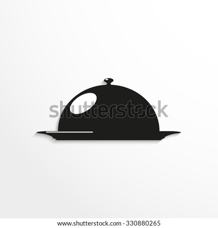 Cooked food on the plate under the hood. Vector icon. - stock vector