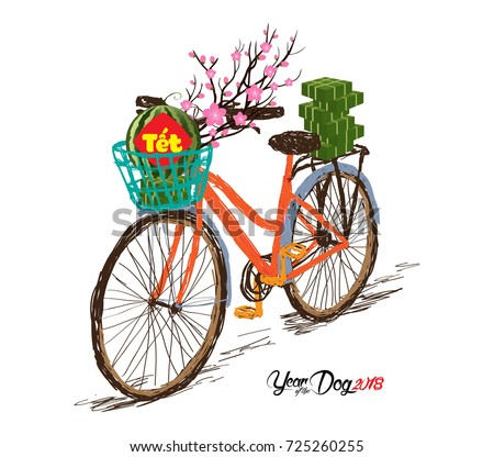 "Cooked square glutinous rice cake and blossom, bicycle. Vietnamese new year. (Translation ""Tet"": Lunar new year)"