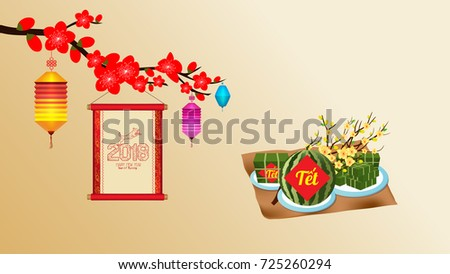 Cooked square glutinous rice cake blossom stock vector 725260294 cooked square glutinous rice cake and blossom wallpapers vietnamese new year translation m4hsunfo