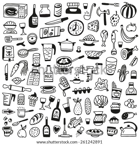 Cookery, food - doodles collection - stock vector