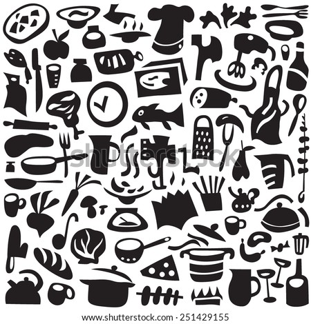 Cookery, kitchen tools - set icons in graphic style - stock vector