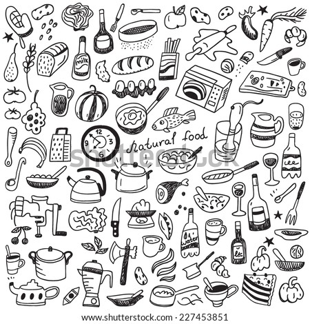 Cookery, natural food - doodles collection - stock vector