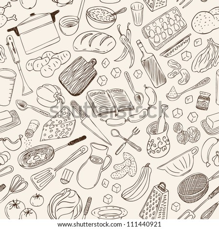 Cookery seamless background - stock vector