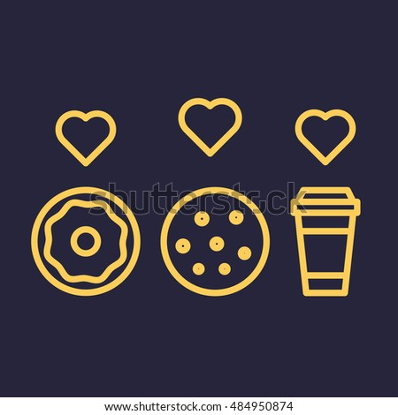 Cookie And Donut With Coffee Cup Hearts Flat Vector Outline Icon On Dark Background