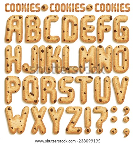 Cookie font with chocolate chips, full alphabet Part 1/2 - stock vector