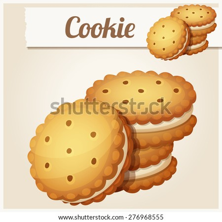 Cookie with white cream. Detailed vector icon. Series of food and drink and ingredients for cooking. - stock vector