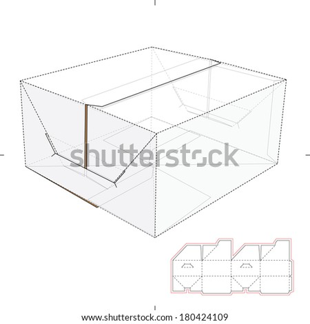 Cookies and Cardboard Box Top and Die-cut Pattern - stock vector