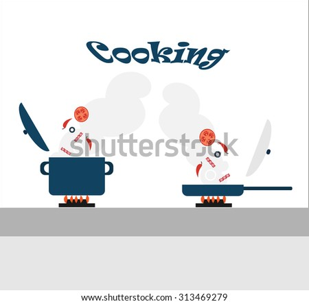 Cooking - adding ingredients in a saucepan and a frying pan standing on the stove. Vector illustration. - stock vector