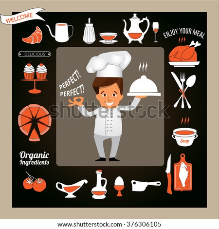 Cooking and Food concept -Smiling Chef Showing Ok Sign and Serving Food