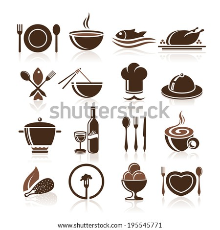 Cooking and kitchen icon set. - stock vector