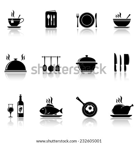 Cooking and kitchen icons with reflection - stock vector
