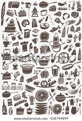 cooking and kitchen tools doodles