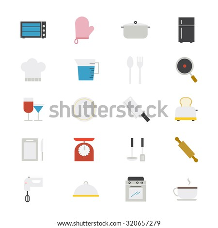 Cooking and Kitchen Utensil Flat Icons color - stock vector