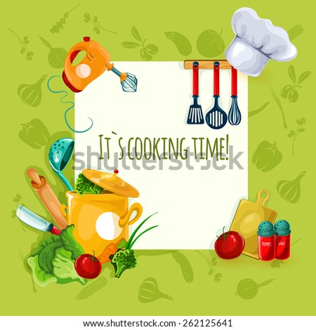 Cooking appliances and restaurant utensil and food background vector illustration - stock vector