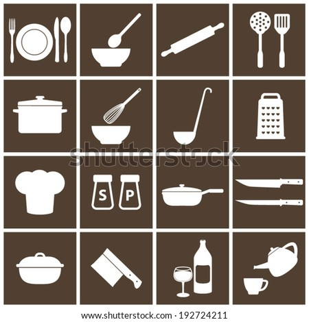 Cooking Brown Icons - stock vector