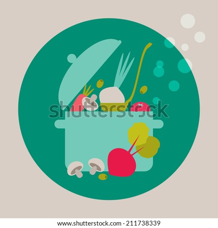 Cooking card that can be used as a cover for cookbook or recipe card. - stock vector