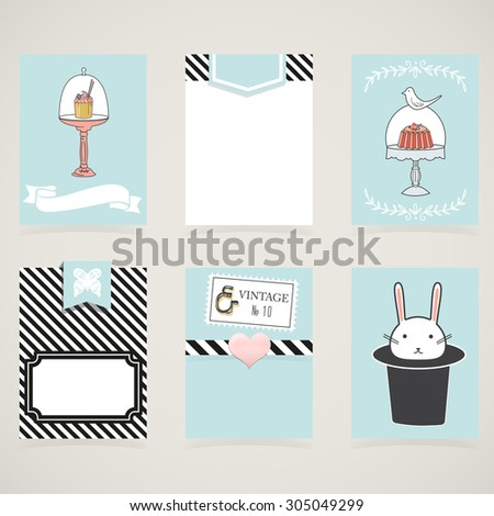 Cooking cards, notes, stickers, labels, tags with cute decorative illustrations. Template for scrapbooking, wrapping, notebooks, notebook, diary, decals. Sweets and children's party printable cards. - stock vector
