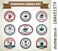 Cooking chef labels set of good catering delicious food always fresh isolated vector illustration - stock vector
