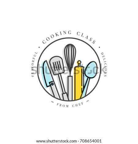 Cooking class linear design element kitchen stock vector 2018 cooking class linear design element kitchen emblem symbol icon or food studio label ccuart Image collections