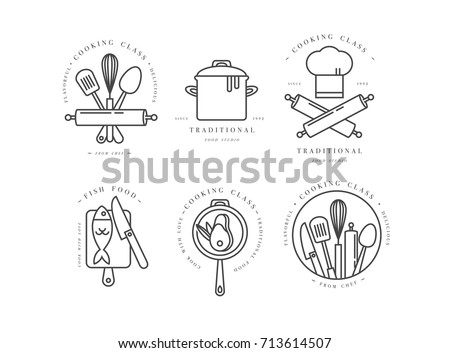 Cooking class linear design elements set stock vector hd royalty cooking class linear design elements set of kitchen emblems symbols icons or food ccuart Image collections