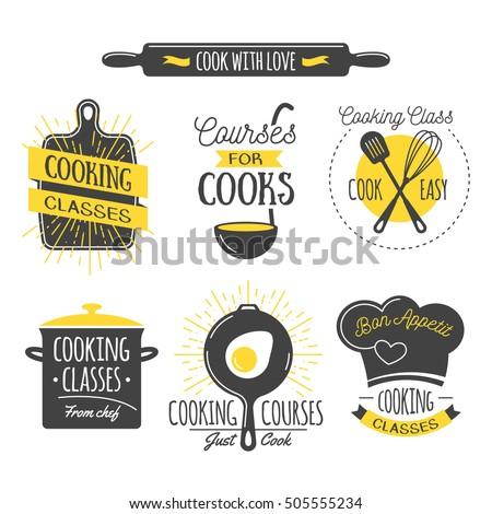 Cooking Class Vintage Design Elements Kitchen Stock Vector