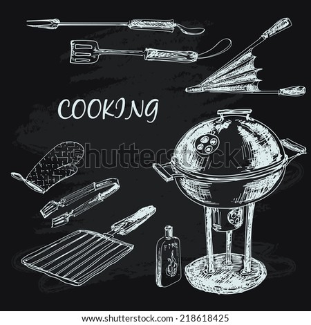 Cooking collection. Set of hand drawn illustrations - stock vector