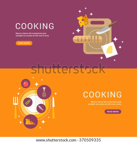 Cooking Concept. Bread on a Cutting Board. Served dish. Set of Templates for Web Banners with Headline and Button. Vector Illustration in Flat Design Style - stock vector