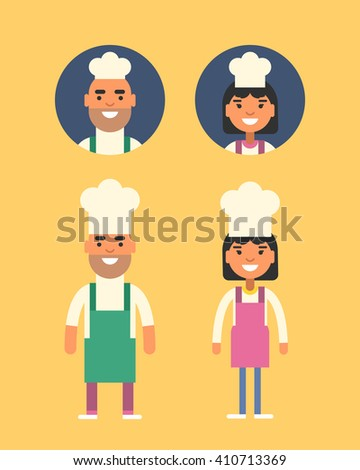 Cooking Concept. Chef Cook Profession. Smiling Man and Woman in Chief Uniforms. Flat Style Illustration. People Profession Avatars - stock vector