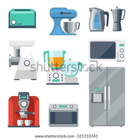 Cooking equipment flat icons set. Toaster and stove, kettle and mixer, refrigerator and grinder, blender object. Vector illustration - stock vector